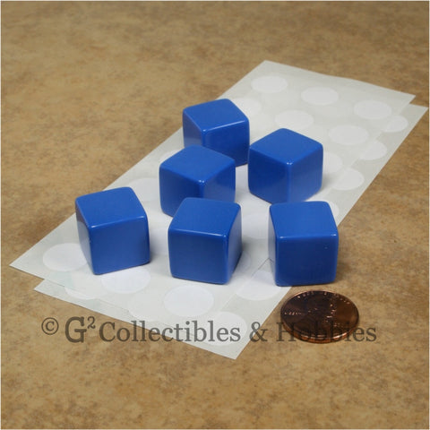 D6 16mm Blank Blue 6pc Dice Set
