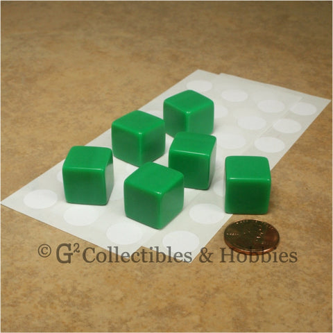 D6 16mm Blank Green 6pc Dice Set