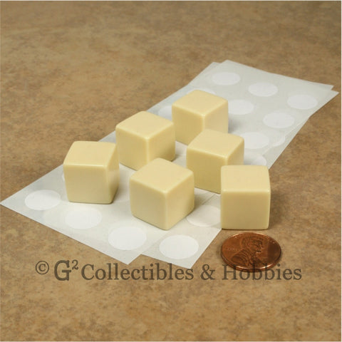 D6 16mm Blank Ivory 6pc Dice Set