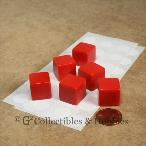 D6 16mm Blank Red 6pc Dice Set