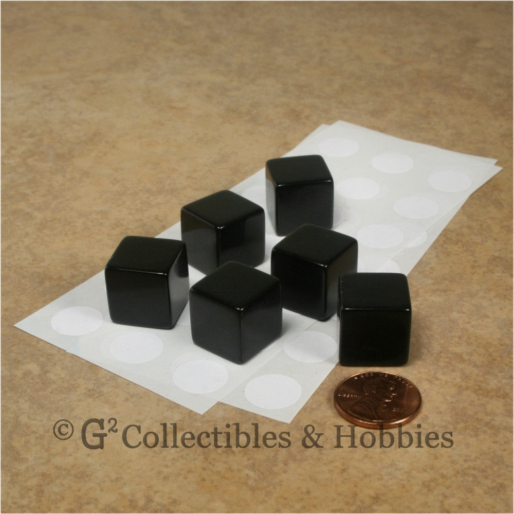 D6 16mm Blank Black 6pc Dice Set