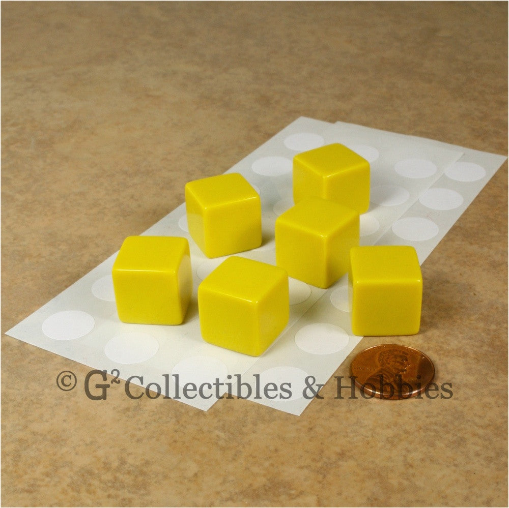 D6 16mm Blank Yellow 6pc Dice Set