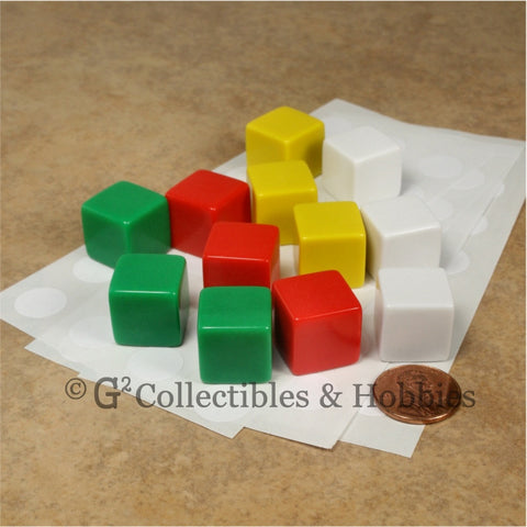 D6 16mm Blank 12pc Dice Set - Green, Red, Yellow & White