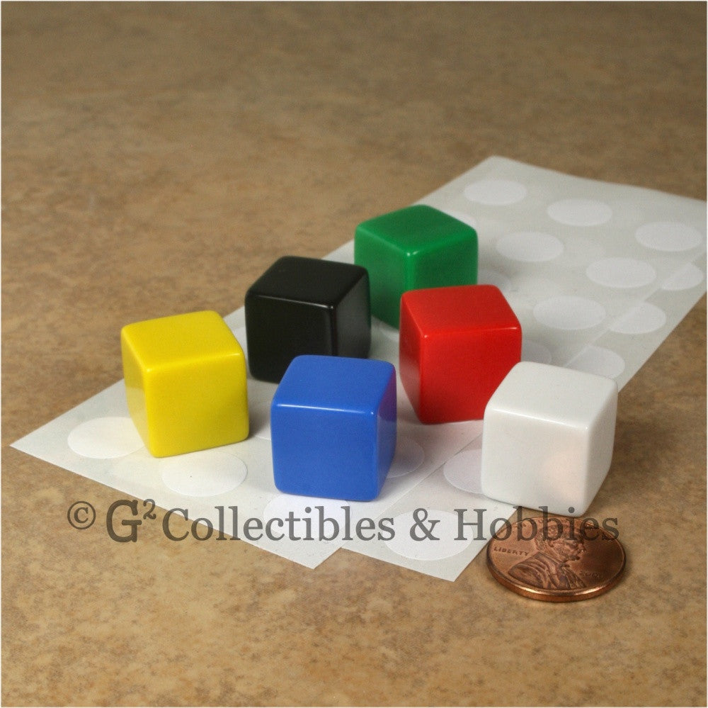 D6 16mm Blank Multicolor  6pc Dice Set