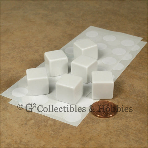 D6 16mm Blank White 6pc Dice Set