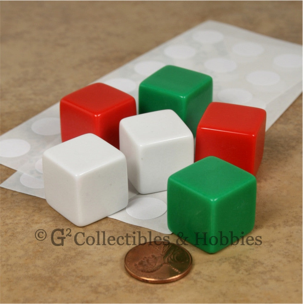 D6 19mm Blank 6pc Dice Set - Red, Green & White