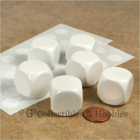 D6 22mm Blank White Rounded Edge 6pc Dice Set