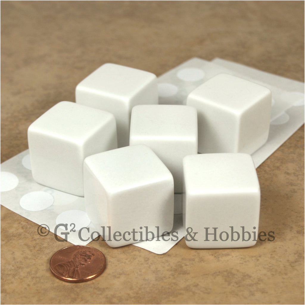D6 25mm Blank White 6pc Dice Set