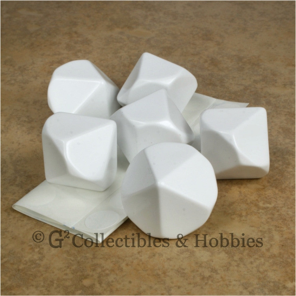 D10 25mm Blank White 6pc Dice Set
