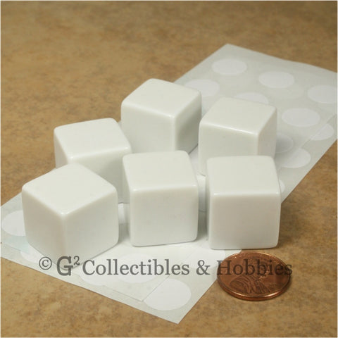 D6 19mm Blank White 6pc Dice Set