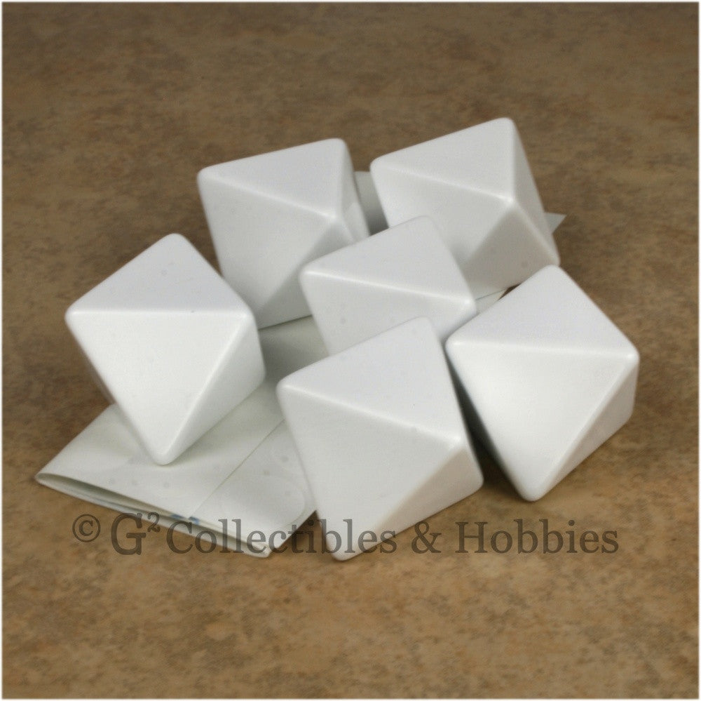 D8 25mm Blank White 6pc Dice Set