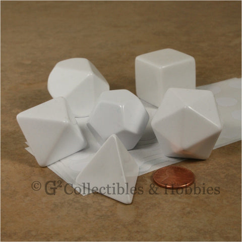 Jumbo Blank White 6pc Dice Set - D4 D6 D8 D10 D12 & D20