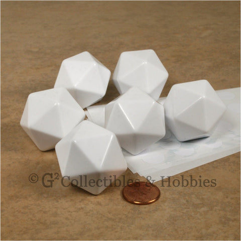 D20 30mm Blank White 6pc Dice Set