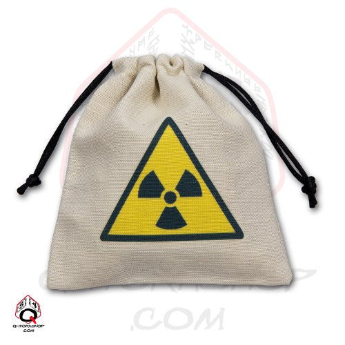 Dice Bag: Small White Linen Nuclear Radiation Hazard