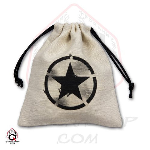 Dice Bag: Small White Linen WWII USA Invasion Star