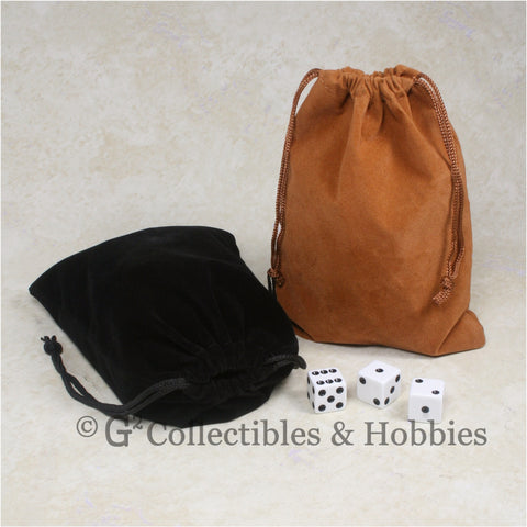 Dice Bag: Large Brown & Black Velveteen - 2pc Set
