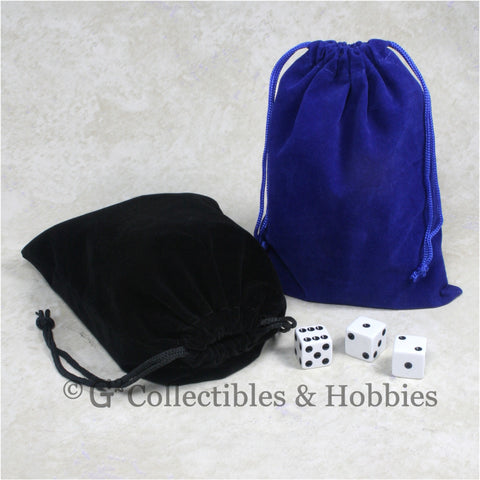 Dice Bag: Large Blue & Black Velveteen - 2pc Set