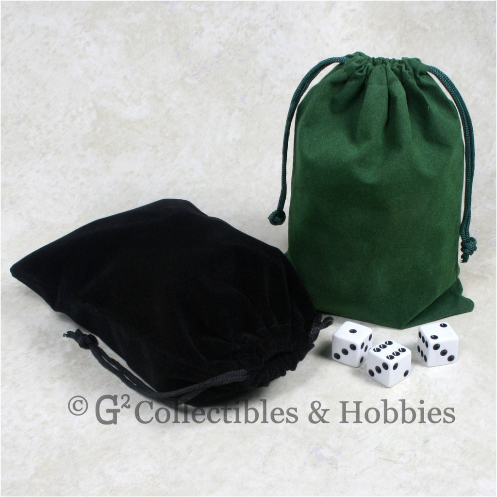 Dice Bag: Large Green & Black Velveteen - 2pc Set