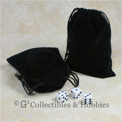 Dice Bag: Large Black Velveteen - 2pc Set