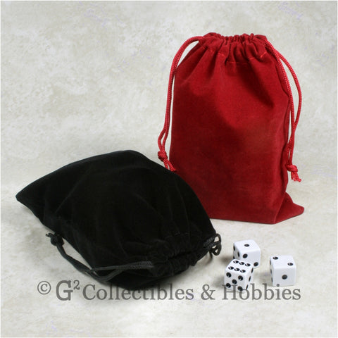 Dice Bag: Large Red & Black Velveteen - 2pc Set