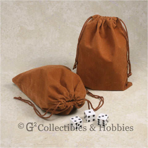 Dice Bag: Large Brown Velveteen - 2pc Set