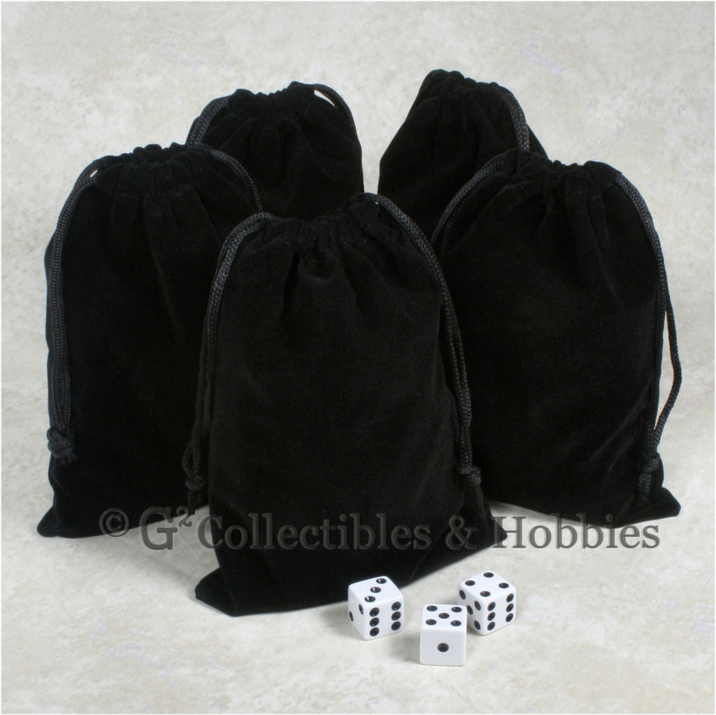 Dice Bag: Large Black Velveteen - 5pc Set