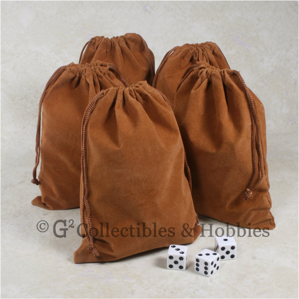 Dice Bag: Large Brown Velveteen - 5pc Set