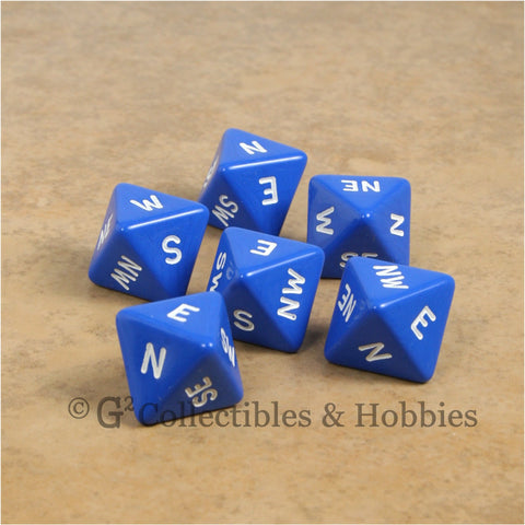 D8 Compass Dice 6pc Set - Blue