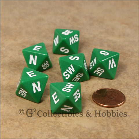 D8 Compass Dice 6pc Set - Green