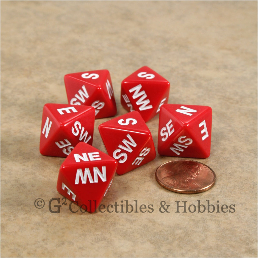 D8 Compass Dice 6pc Set - Red