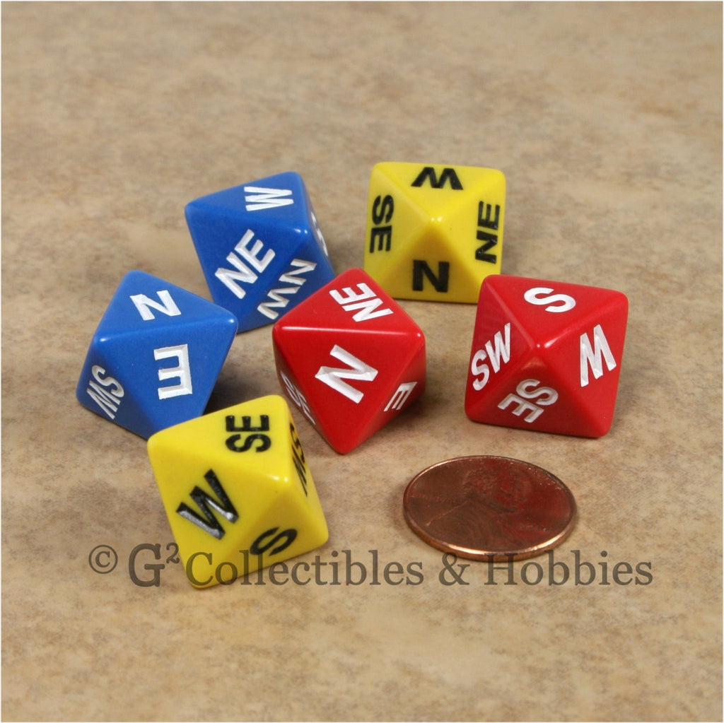 D8 Compass Dice 6pc Set - Red Blue Yellow