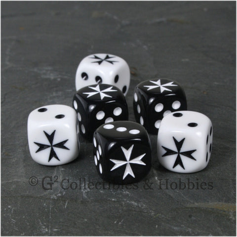 Maltese Cross 6pc Dice Set - Black & White