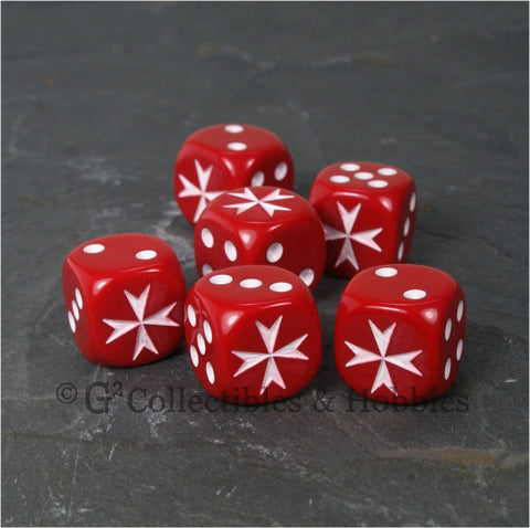 Maltese Cross 6pc Dice Set - Red
