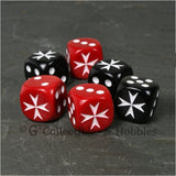 Maltese Cross 6pc Dice Set - Black & Red