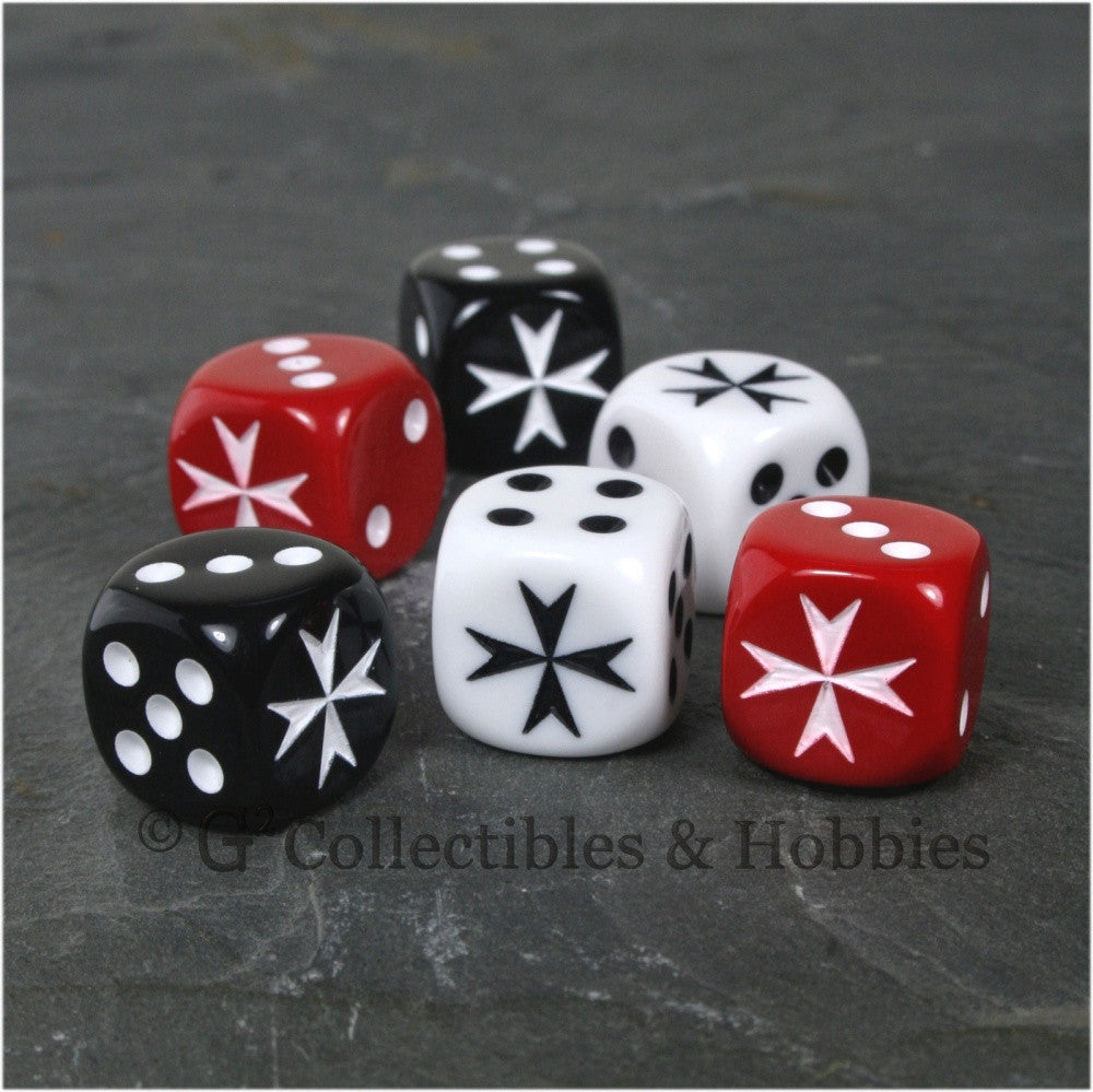 Maltese Cross 6pc Dice Set - Black, White & Red