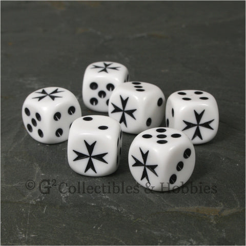 Maltese Cross 6pc Dice Set - White