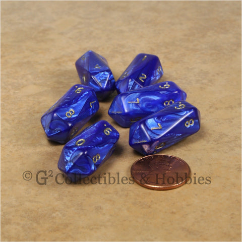 D10 Crystal Pearl Dice 6pc Set - Blue