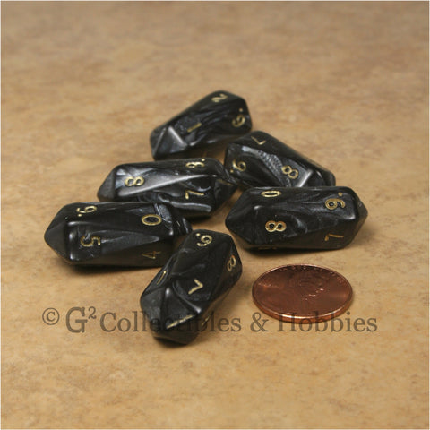 D10 Crystal Pearl Dice 6pc Set - Black