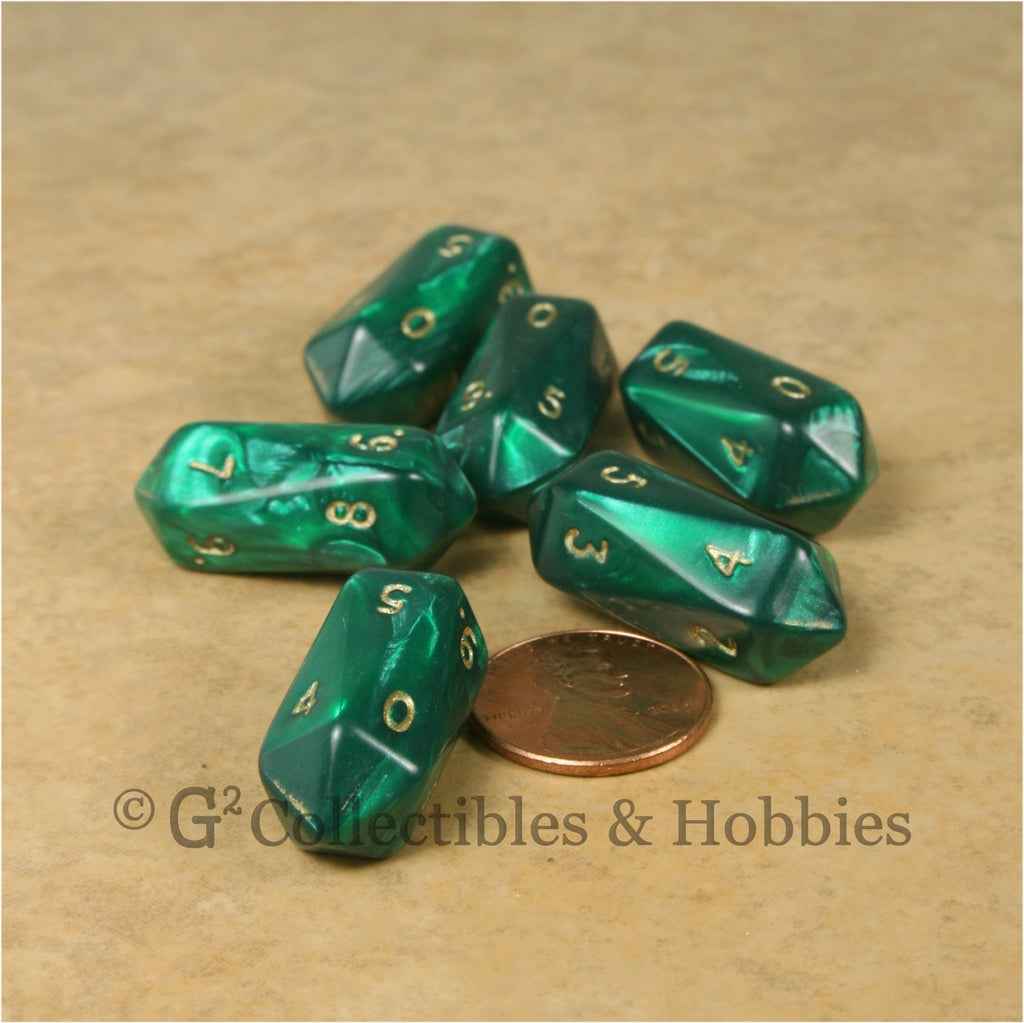D10 Crystal Pearl Dice 6pc Set - Green