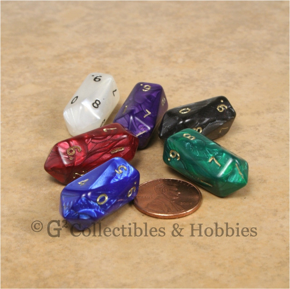 D10 Crystal Pearl Dice 6pc Set - 6 Colors