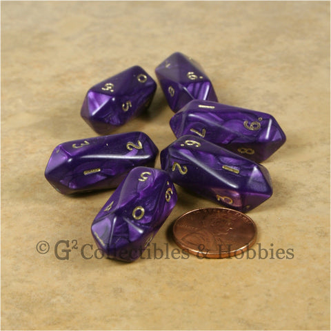 D10 Crystal Pearl Dice 6pc Set - Purple