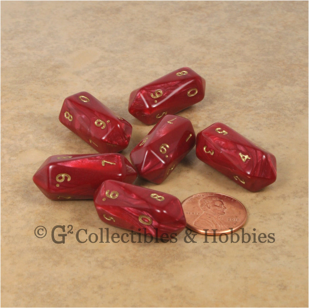 D10 Crystal Pearl Dice 6pc Set - Red