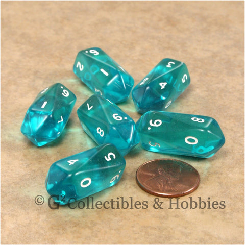 D10 Crystal Transparent Dice 6pc Set - Aqua Blue