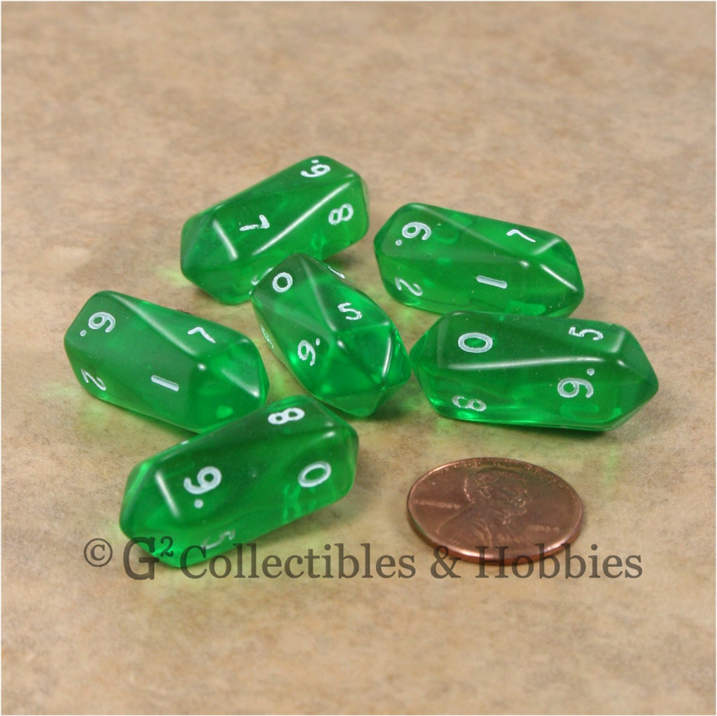 D10 Crystal Transparent Dice 6pc Set - Green