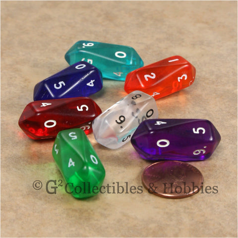D10 Crystal Transparent Dice 7pc Set - 7 Colors