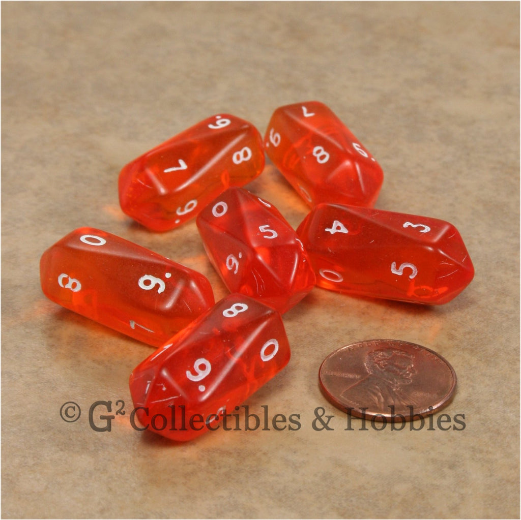 D10 Crystal Transparent Dice 6pc Set - Orange