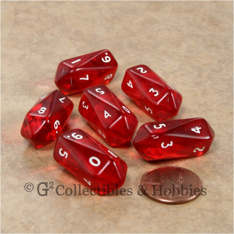 D10 Crystal Transparent Dice 6pc Set - Red