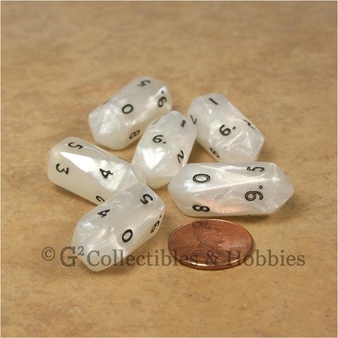 D10 Crystal Pearl Dice 6pc Set - White