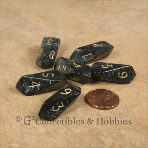 D6 Crystal Pearl Dice 6pc Set - Black
