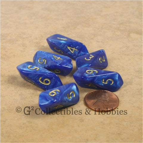 D6 Crystal Pearl Dice 6pc Set - Blue